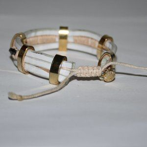 J. Crew Jewelry - White leather gold and tan J Crew bracelet